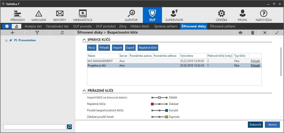Safetica šifrování disku